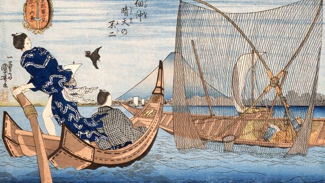 Boote am Berg Fuji. Farbiger Holzdruck von Utagawa Kuniyoshi, 19. Jahrhundert.