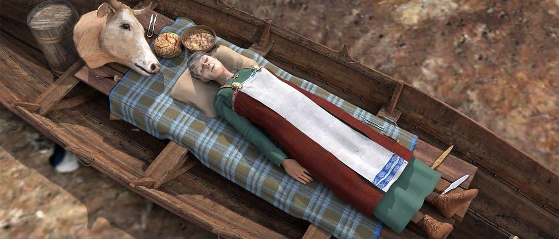 Rekonstruktion der Wikingerin von Vinjeøra in ihrem Schiffsgrab. Unter ihr lag noch ein weiterer Toter in einem Boot.
