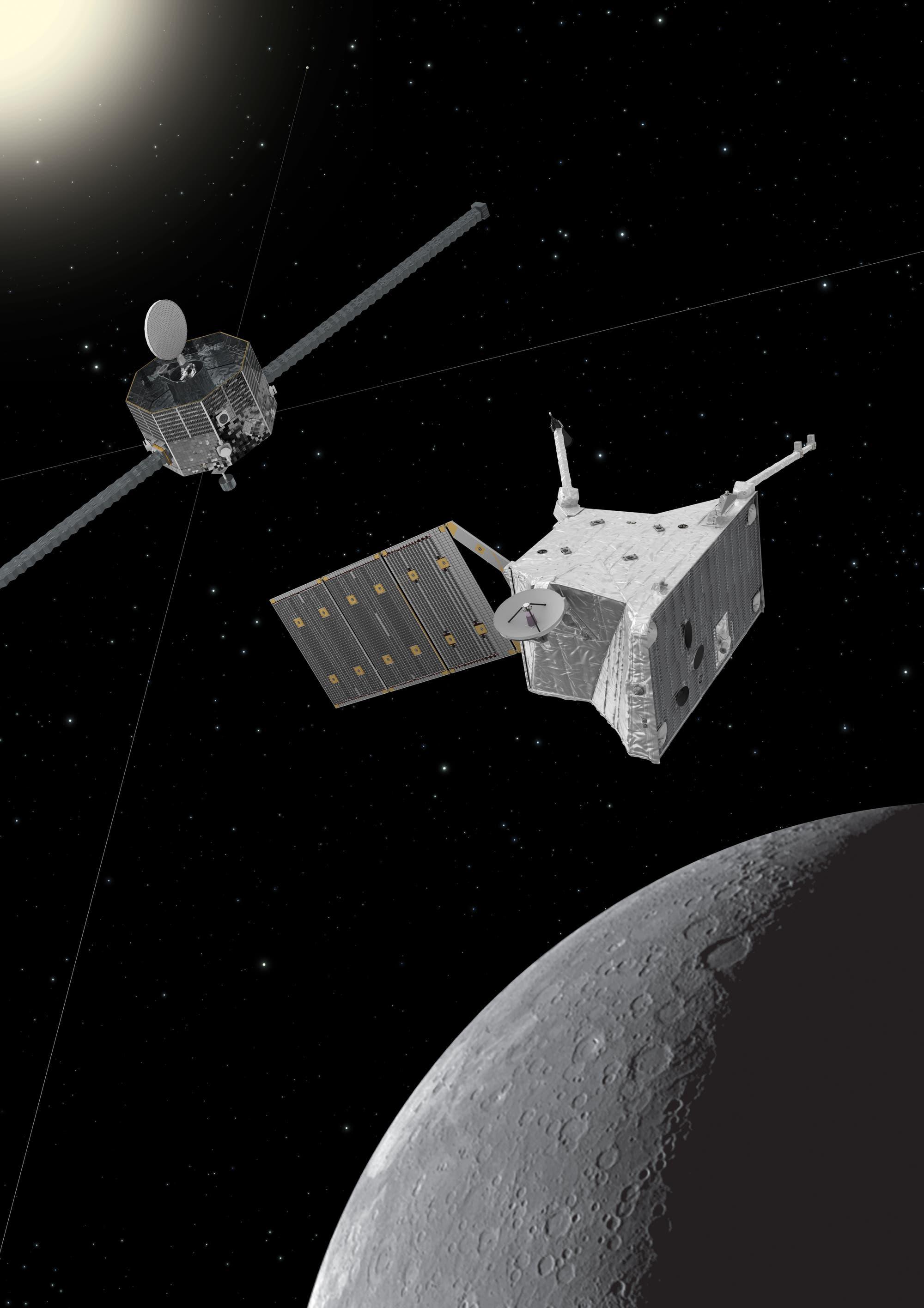 Raummission BepiColombo über dem Merkur