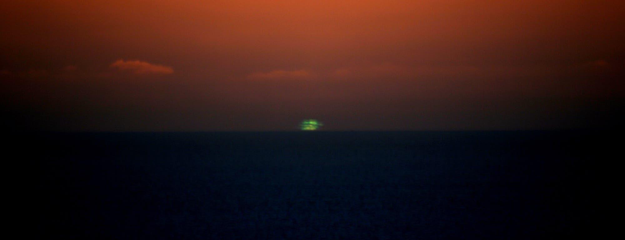 Grüner Blitz beim Sonnenuntergang