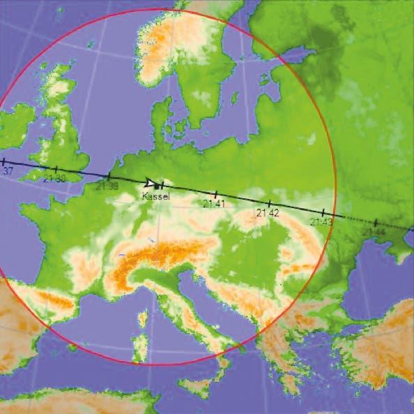 ISS über Kassel (Landkarte)