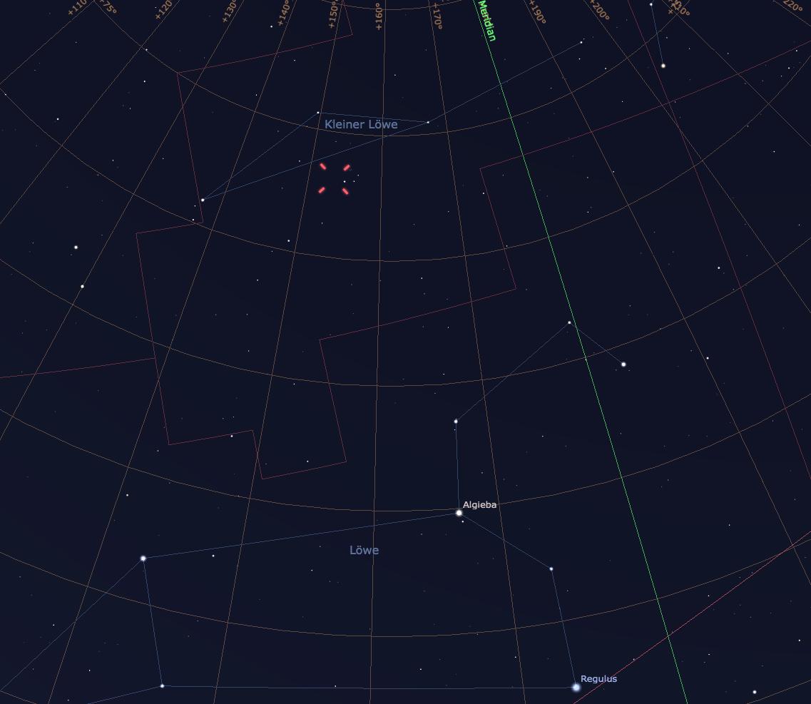 Komet Lovejoy im Sternbild Kleiner Löwe