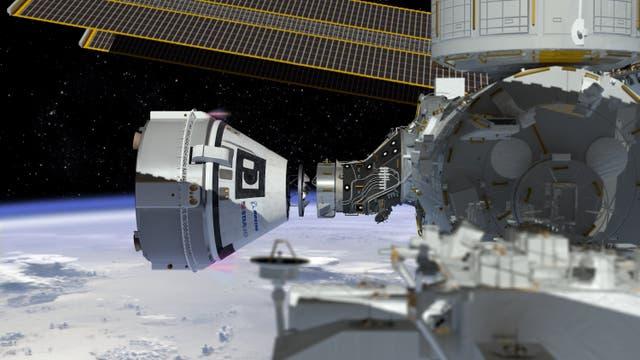 Boeing CST-100 Starliner dockt an ISS an (künstlerische Darstellung)