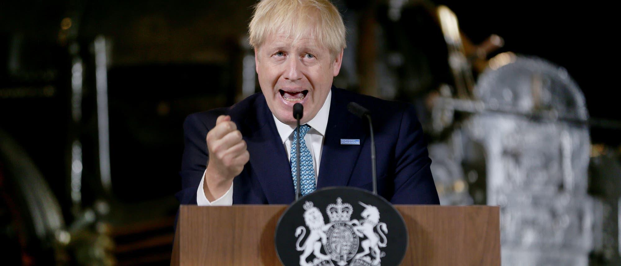 Der britische Premierminister Boris Johnson bei einer Rede im Science and Industry Museum in Manchester im Juli 2017.