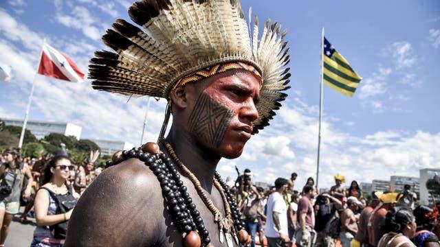 Schon 2018 demonstrierten Indigene für ihre Rechte in Brasilia