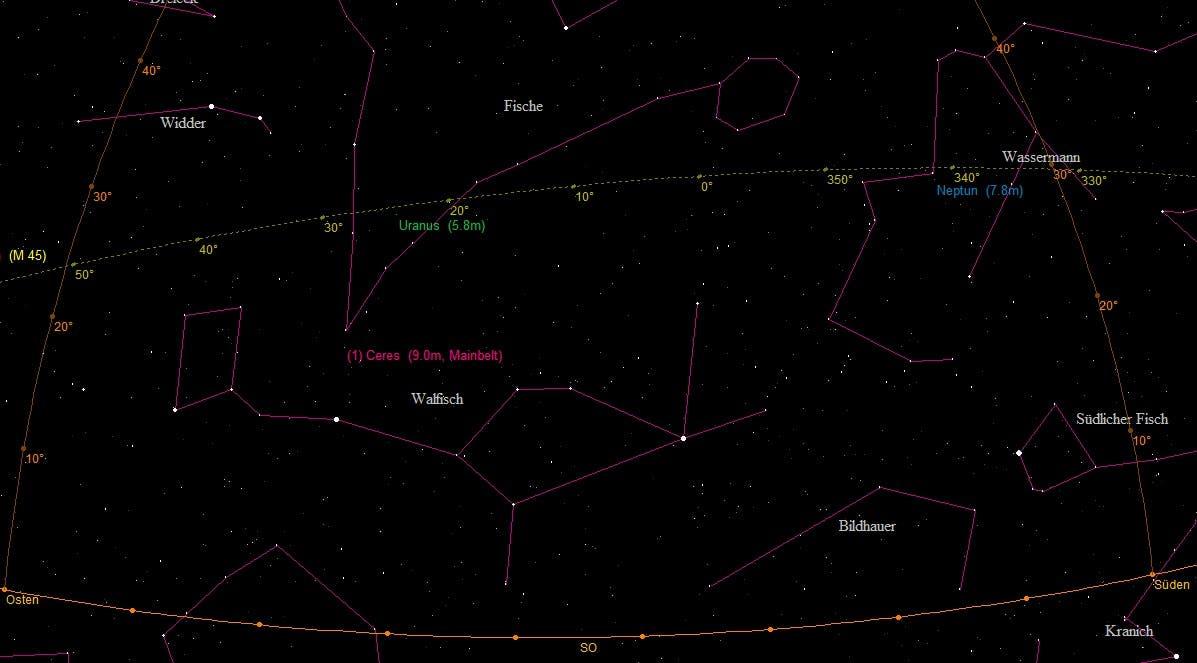 Aufsuchkarte für (1) Ceres im Sternbild Walfisch (Übersichtskarte)