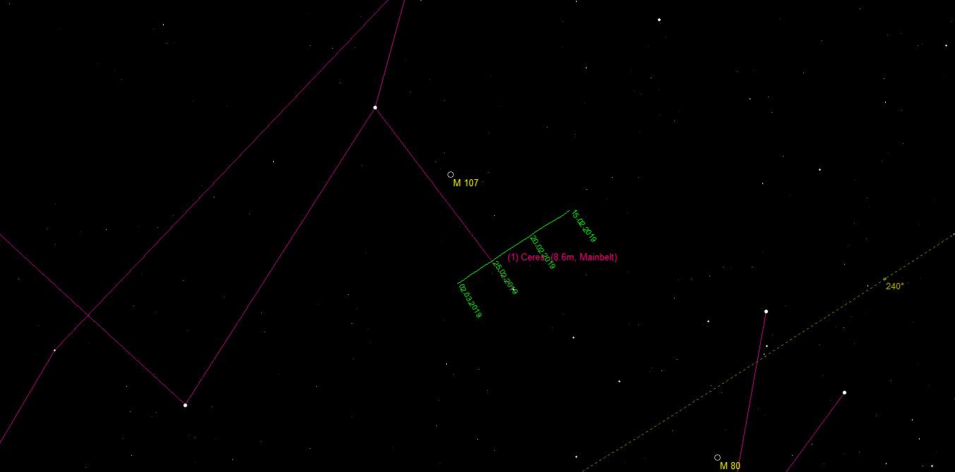 Aufsuchkarte für den Zwergplaneten (1) Ceres im Sternbild Schlangenträger
