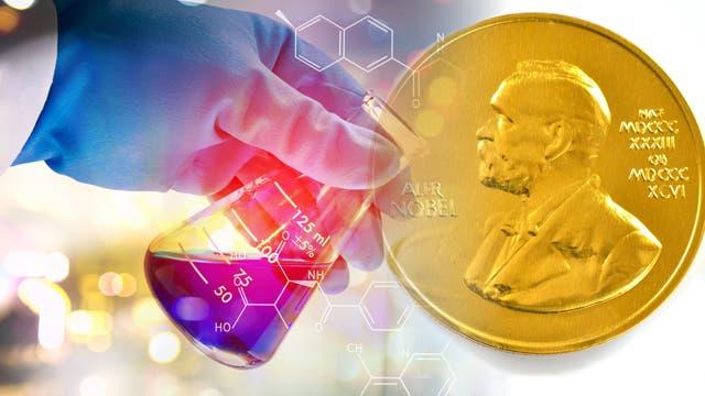 Hand mit Erlenmeyerkolben kombiniert mit der Nobel-Medaille