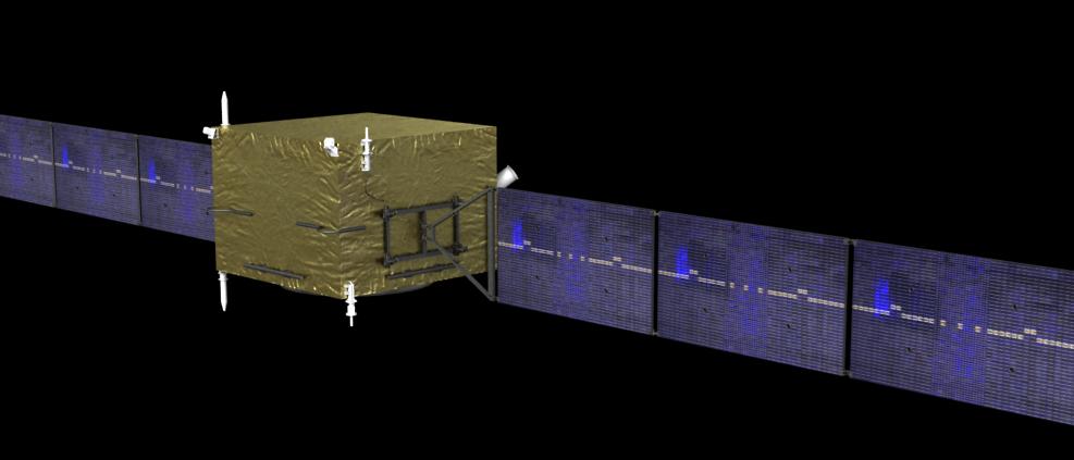Der Dark Matter Particle Explorer DAMPE (künstlerische Darstellung)