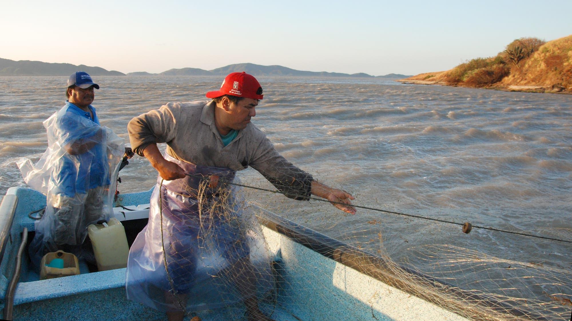 Fischer in ihren kleinen Motorbooten