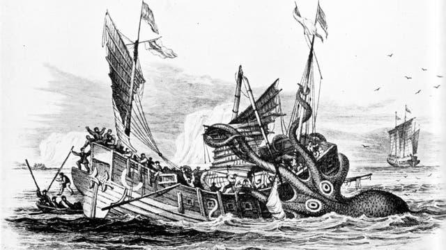 Riesenkalmar attackiert Handelsschiff, von Pierre Denys de Montfort