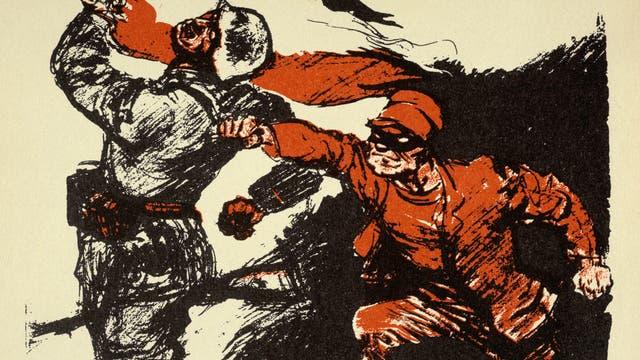 »Dolchstoß«-Illustration zu einem Wahlplakat der Deutschnationalen Volkspartei (DNVP) für die Reichstagswahlen am 7.12.1924