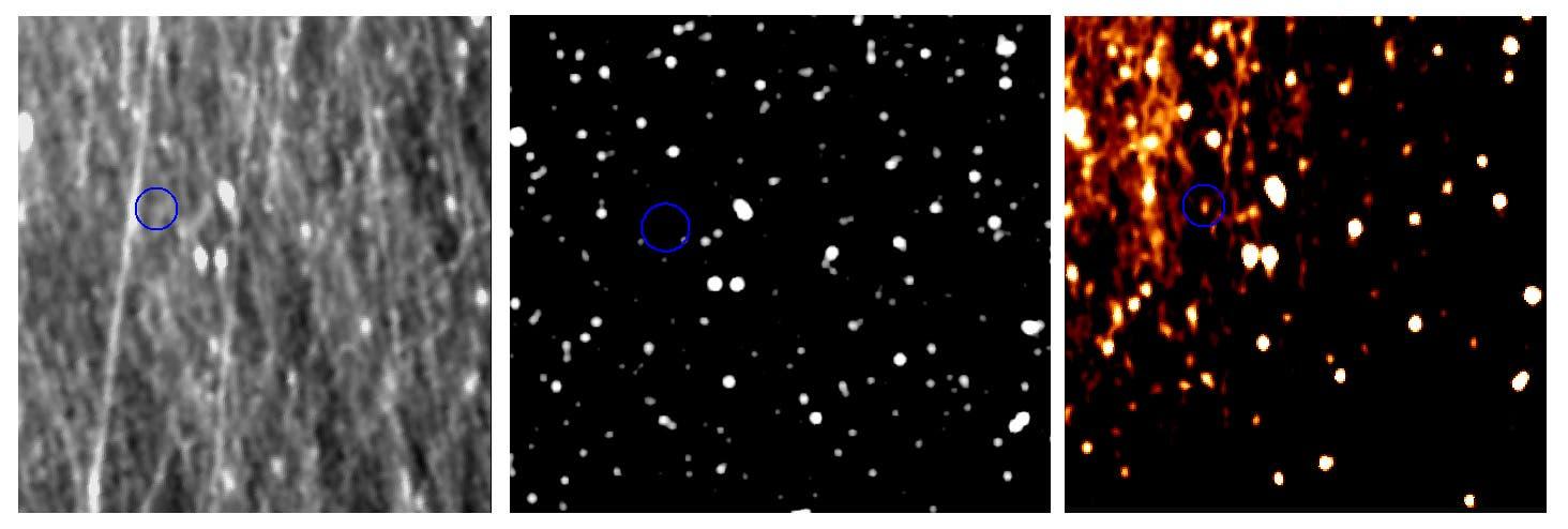 Nach sorgfältiger Bildbearbeitung zeigt sich der Zwergplanet Pluto in diesen Aufnahmen des Kamerasystems OSIRIS vom 12. Juli 2015. Links: Die unbearbeitete Aufnahme zeigt vor allem einen wahren Sandsturm aus Staubteilchen, durch den OSIRIS blickt. Mitte: Der Sternenhintergrund von Pluto. Rechts: Das bearbeitete Bild zeigt Pluto als hellen Fleck (hier angedeutet durch den blauen Kreis).