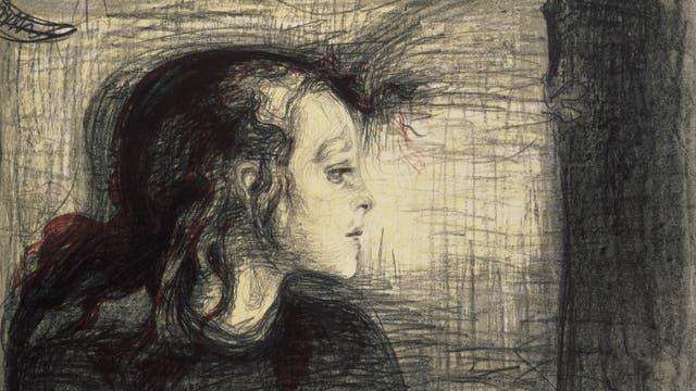Edvard Munch, »Krankes Mädchen«, Lithografie