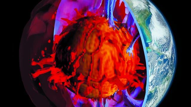 Aufgeschnittene Erdkugel mit blauen Ab- und roten Aufströmungen rund um den Kern