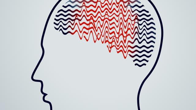 Kopf mit Hirnwellen