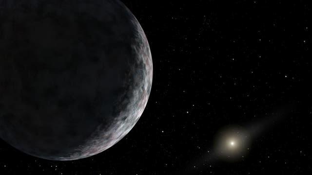 Diese künstlerische Darstellung zeigt den Zwergplaneten Eris, ein transneptunisches Objekt, das 2003 entdeckt wurde und dazu beigetragen hat, dass Pluto seinen Planetenstatus verlor.