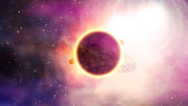 Künstlerische Darstellung eines Exoplaneten vor einem Stern