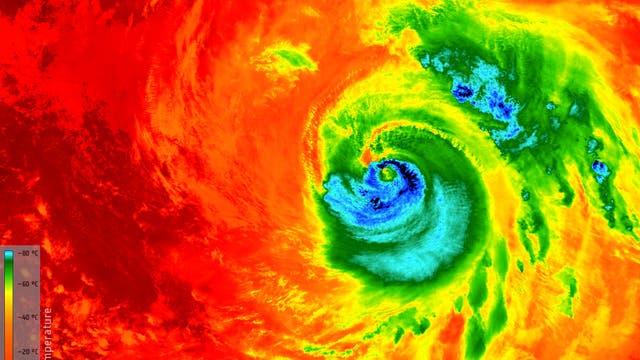 Temperatur an der Oberseite der Wolken des Hurrikans Matthew