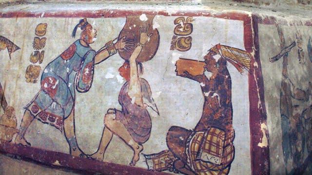 Wandmalerei mit Alltagsszenen der Maya