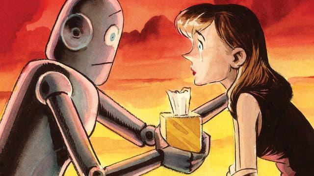 Frau weint, Roboter bietet Taschentuch an
