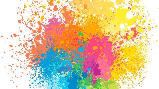 Verschiedene Farbkleckse auf weißem Hintergrund.