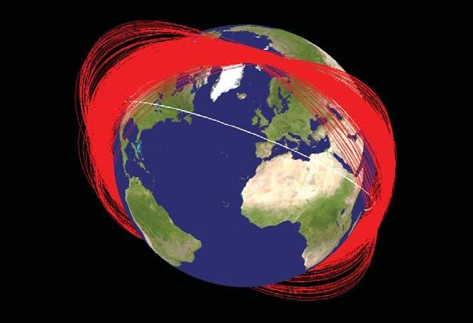 Überreste nach dem Antisatellitentest 2007