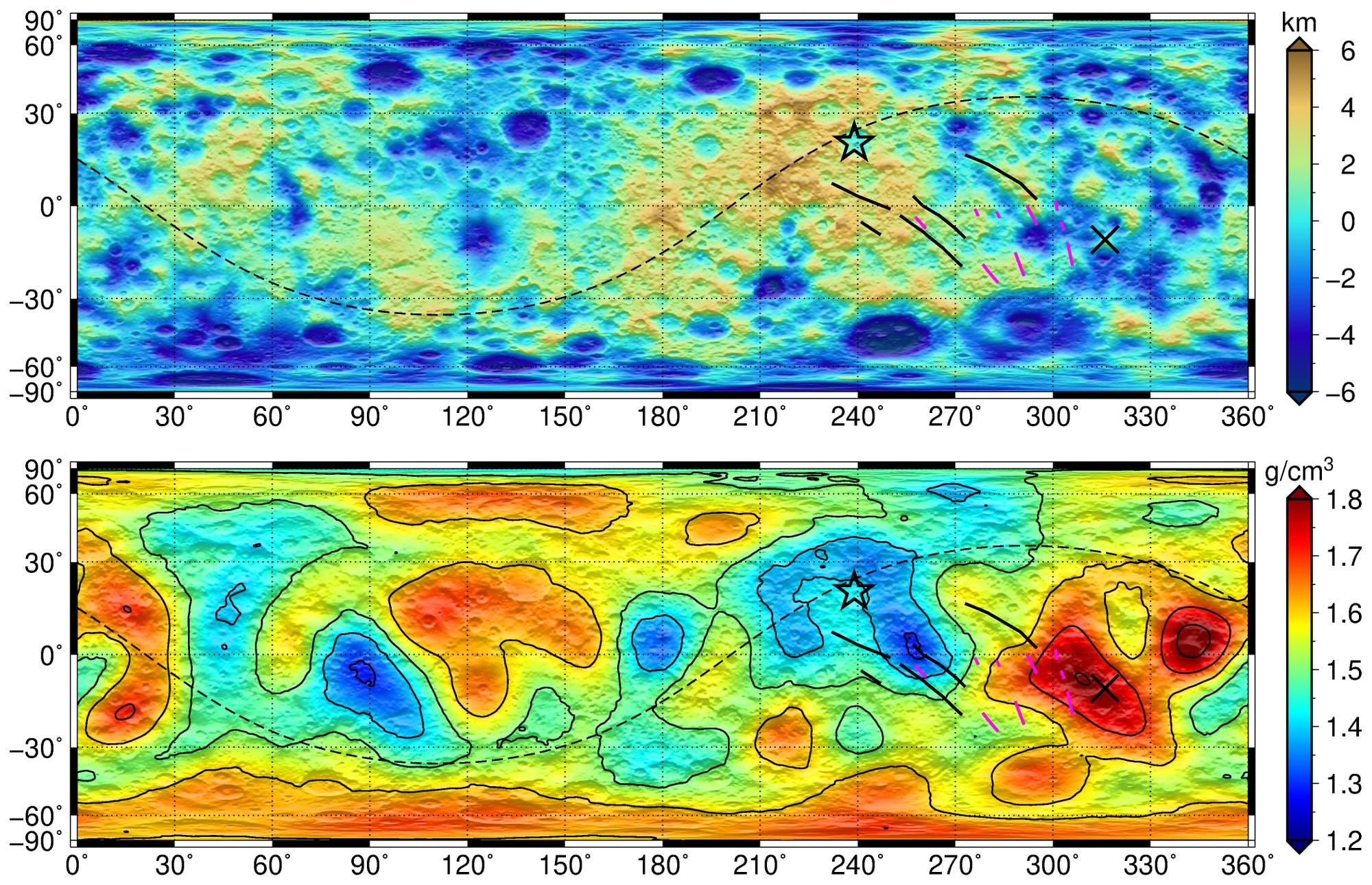 Topographie und Oberflächendichte von Ceres