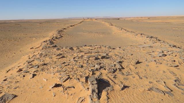 Rechteckanlage in Saudi-Arabien - mit Forscher im Hintergrund