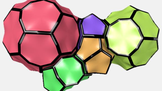 Polyedrische Elemente der MOF-Struktur. Jeder dreiarmige Eckpunkt der gezeigten Polyeder entspricht einem organischen Linker. Im Mittelpunkt jeder Kante sitzt eine Urandioxid-Einheit