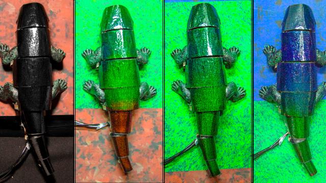 Der Chamäleonroboter passt seine Farbe der Musterung und Färbung des Bodens an, über den der Soft Robot krabbelt.