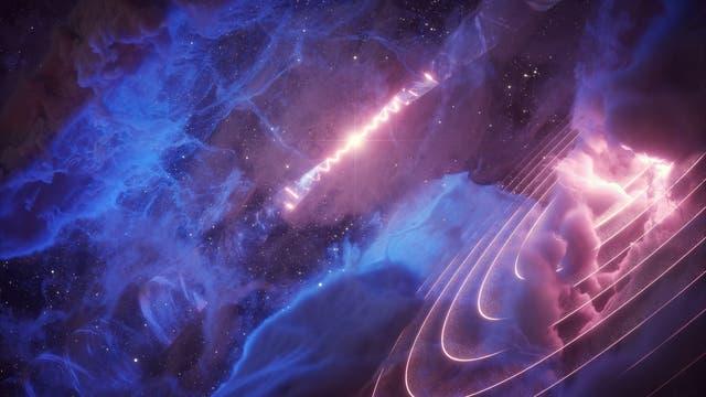 Das Sternsystem SS 433: Ein Schwarzes Loch feuert zwei Jets ins All (Hintergrund), deren Atomkerne eine Gaswolke zum Leuchten anregen (Vordergrund)