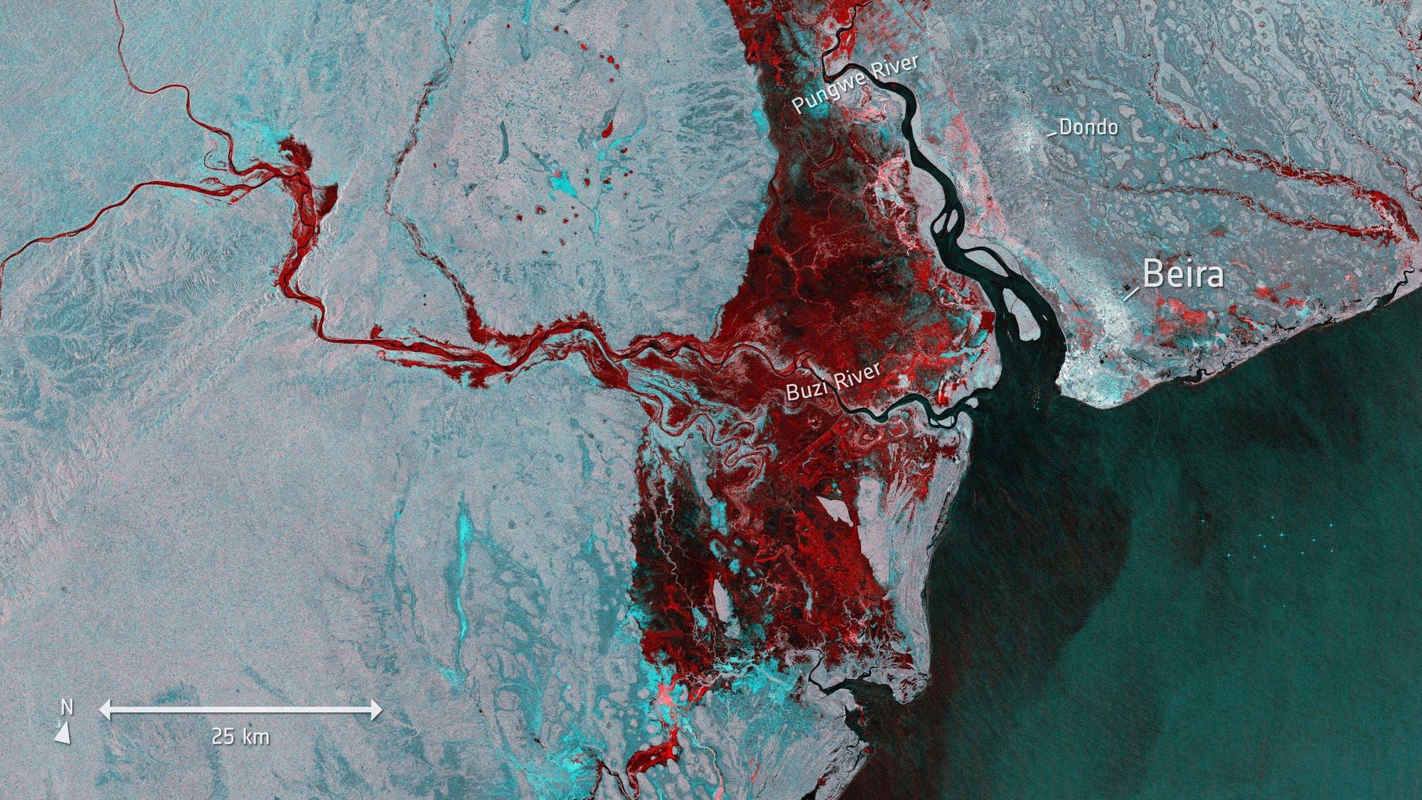 Überflutung im Satellitenbild