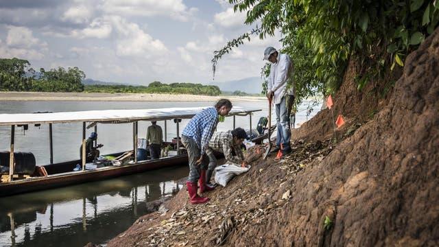 Forscherteam gräbt am Ufer des Río Madre de Dios nach Fossilien