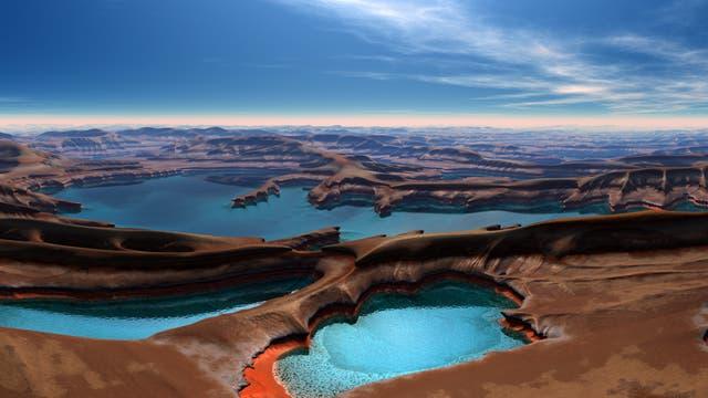 Künstlerische Impression einer Welt aus Gestein und Wasser