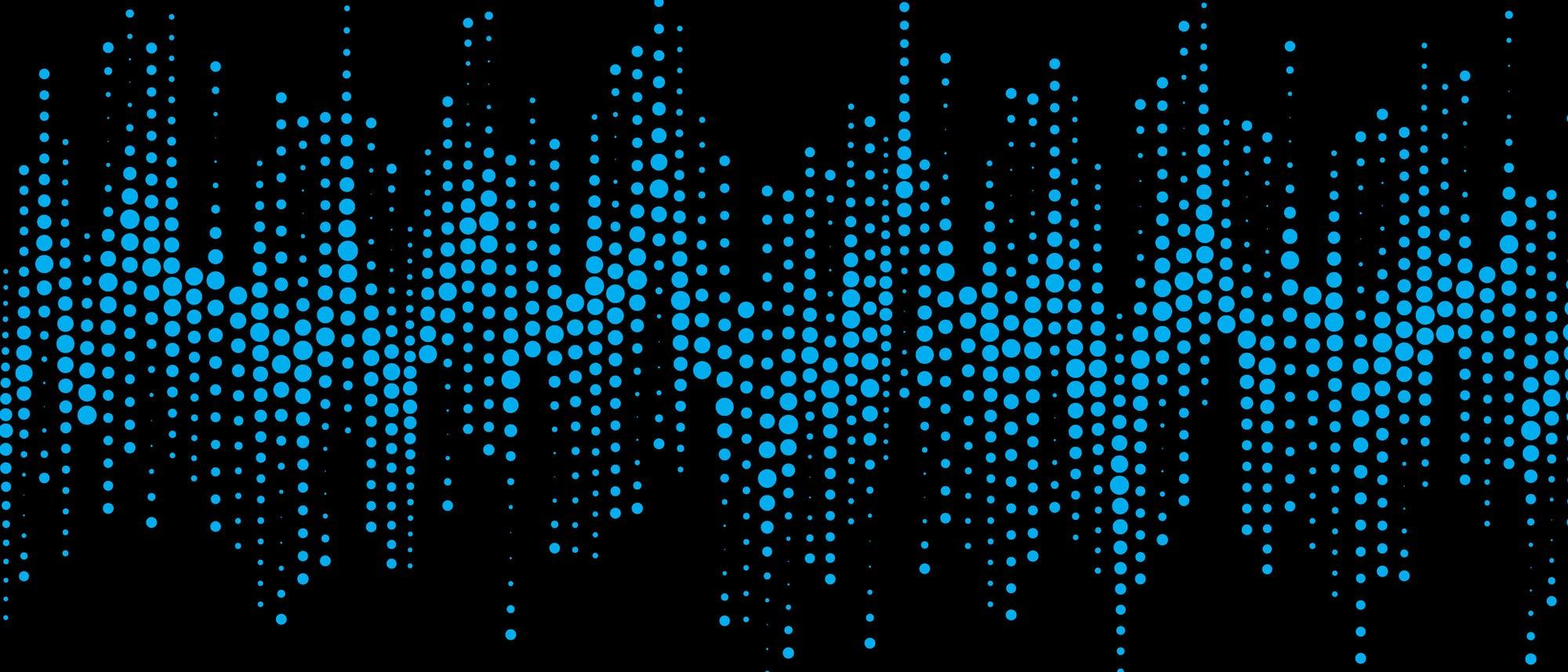 Stilisierte Wellenform aus blauen Punkten