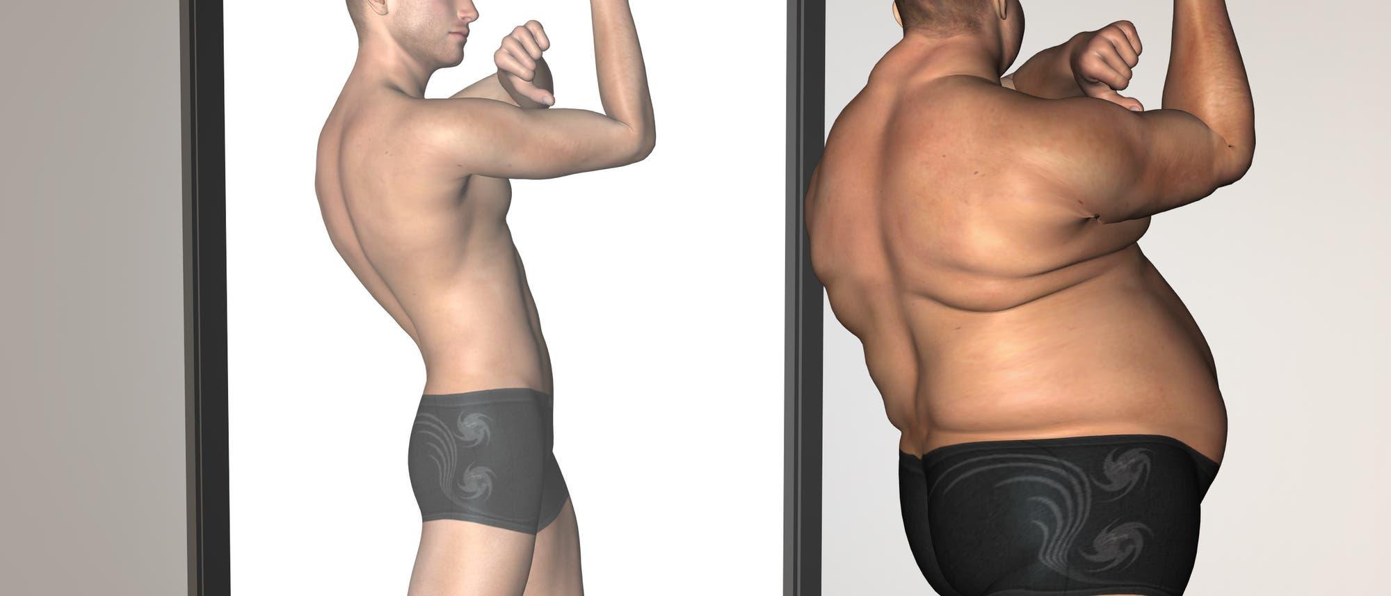 Ein dicker Mann in Pose vor seinem dünnen Spiegelbild