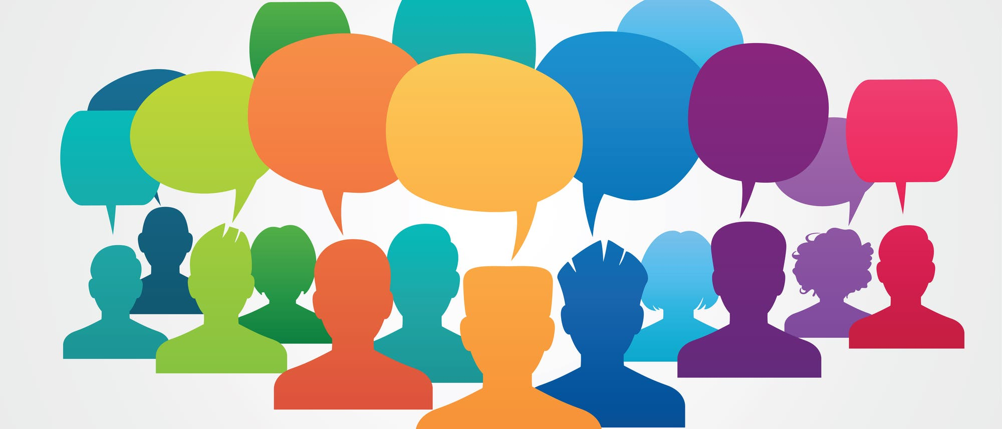 Eine Gruppe von Porträt-Silhouetten in freundlichen, bunten Farben mit großen, völlig leeren Sprechblasen darüber. Das perfekte Sinnbild für Twitter.