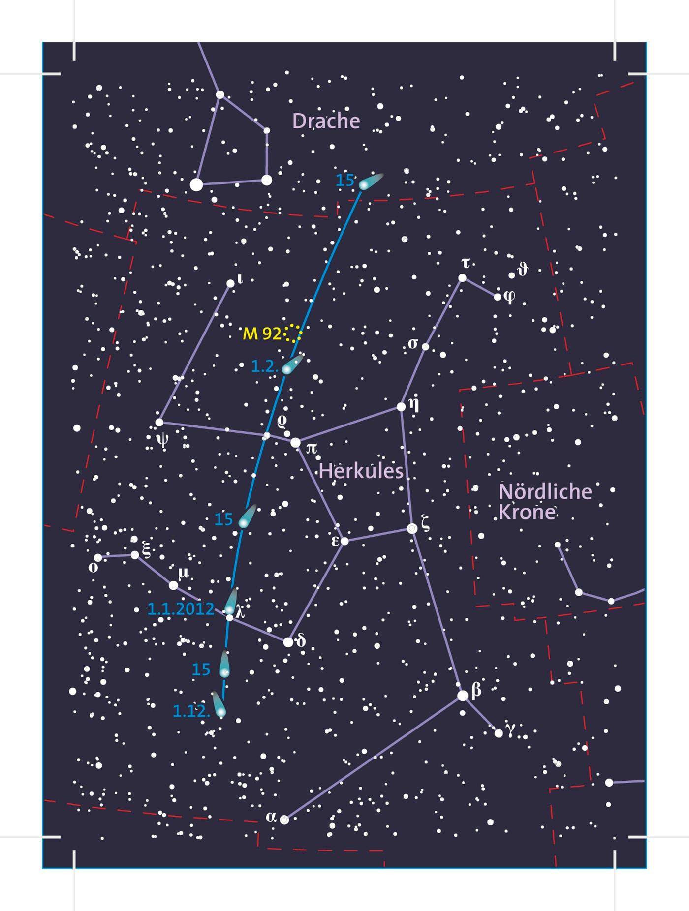 Aufsuchkarte für den Kometen C/2009 P1 Garradd