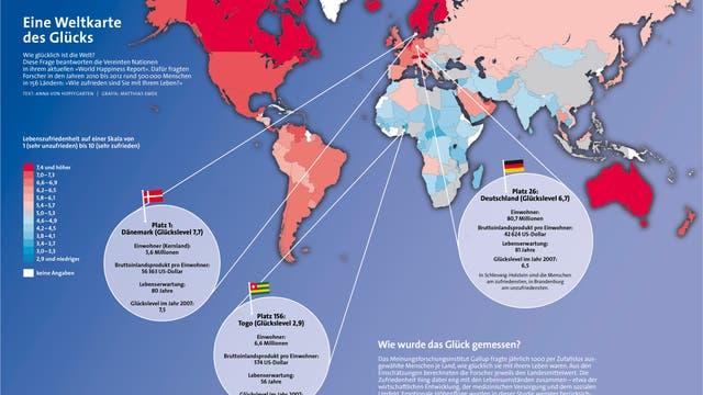 Weltkarte des Glücks