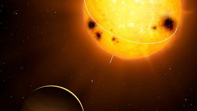 Exoplanet HD 52265 im Umlauf um sein Zentralgestirn (Computergrafik)