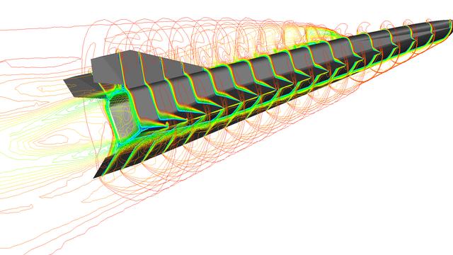 Eine Simulation zeigt einen Hyperschallgleiter des Projekts HEXAFLY-INT im Flug.