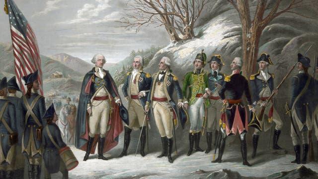 George Washington (links) mit seinen Unterstützern, von Steuben ist Dritter von links