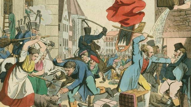 Antisemitische Übergriffe bei den Hep-Hep-Unruhen: Die Bürger von Frankfurt am Main attackieren jüdische Mitbürger im Jahr 1819. Zeitgenössischer, kolorierter Druck von Johann Voltz.