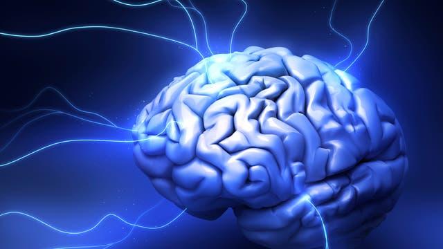 Gehirn mit Lichtblitzen