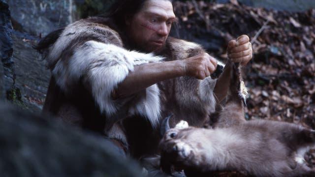 Neandertal-Jäger in Höhle