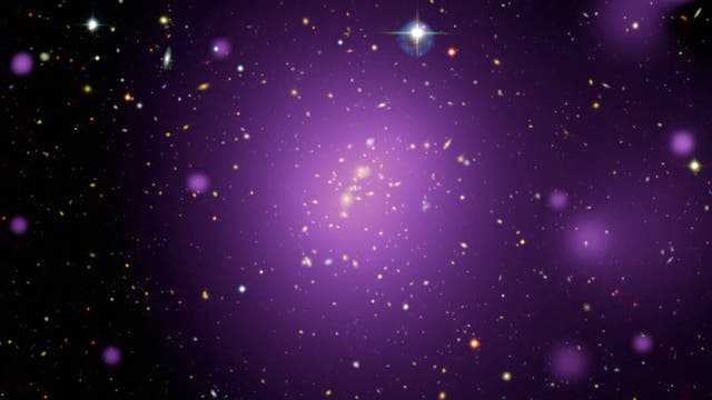 Heißes Gas in Galaxienhaufen (lila)