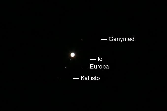 Anblick Jupiters und seiner Galileischen Monde im Fernglas
