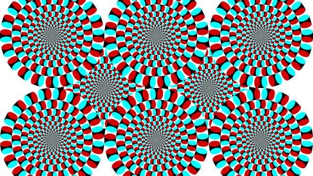 Illusion mit rotierenden Kreisen