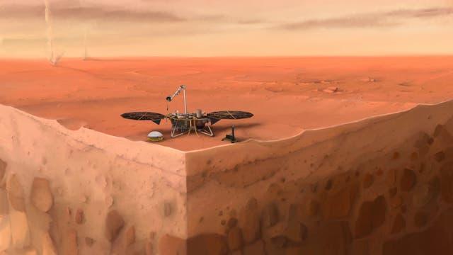 In dieser künstlerischen Darstellung des InSight-Landers der NASA auf dem Mars sind Schichten des Planetenuntergrunds zu sehen.
